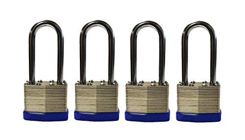 4-Pack Long Shackle Keyed Alike 400 Long Shank (Includes 8-Keys All Keyed Alike) Rust Proof Padlock