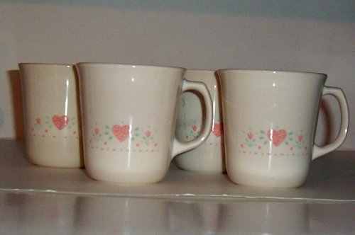 s -- 4 Mugs Cups (Heart Pattern) (Forever Yours Mug)