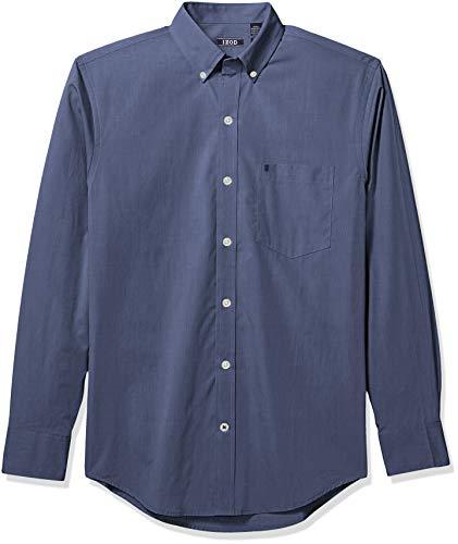 IZOD Men's Premium Essential Long Sleeve Button Down Poplin Shirt, Estate Blue 3X-Large Big ()