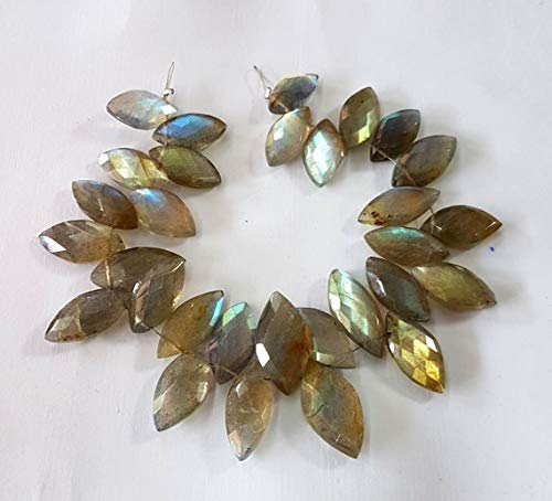 50% Off Kalisa Gems Natural Labradorite Gemstone Faceted Marquise Shaped Beads,Very Nice Quality,6x13 mm - 10x18 mm,7 inch Strand