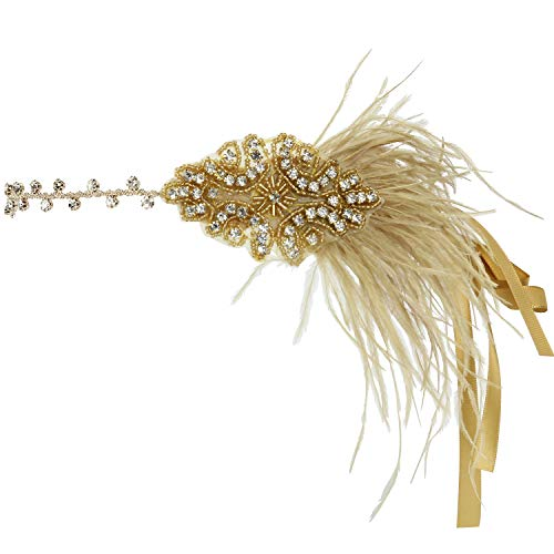 Flapper Headband Acecharming 1920s Gatsby Feather Headpiece Costume Accessories Wedding Bridal Tiara (Gold) from Acecharming