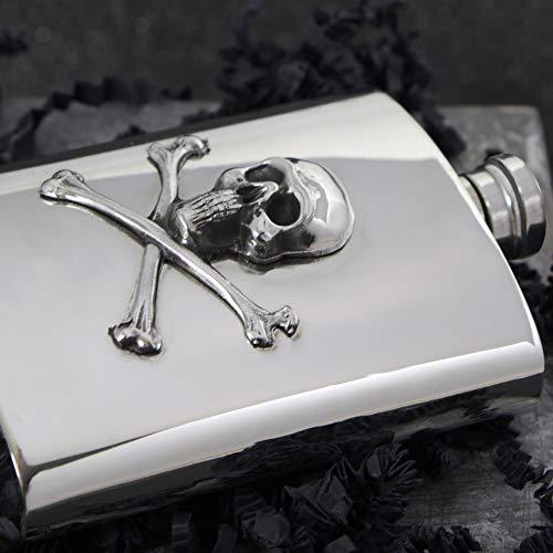 English Pewter Company 6oz Skull & Cross Bones Liquor Hip Flask [SF670] by English Pewter Company Sheffield, England (Image #2)
