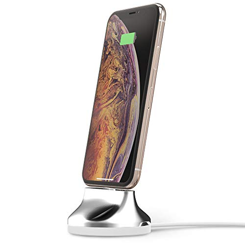 SINJIMORU [Apple MFi Certified] iPhone Dock, Phone Stand for iPhone Xs/X / 8/7 / 6 / SE / 5 / iPod Docking Station, MFi Certified Lightning Cable Included.Sync Stand Chrome iPhone,Bright Silver. ()