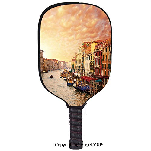 AngelDOU Scenery Decor Waterproof Zipper Single Pickleball Paddle Racket Cover Case Venezia Italian Decor Landscape with Old Houses Gondollas and Spikes Image for for Most Rackets.Multicolor (Venezia Cover)