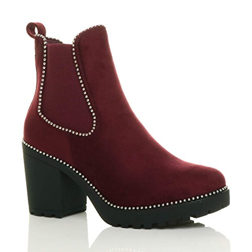 Studded mid Chunky Heel Ankle Ladies Suede Ajvani Block high Chelsea Womens Biker Burgundy Size Boots xwR0a0n4Y