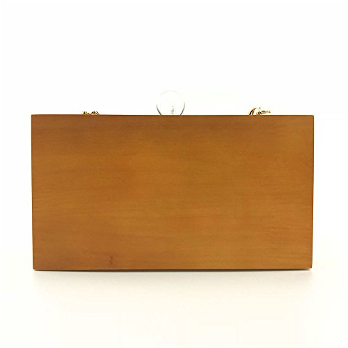 Upscale Color Creative Wooden Evening Shoulder Package Party Crossbody Dinner Bag Solid Wood Clutch Color Women q0Ydwq