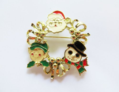 Red Dwarf Costumes Sale (Danecraft Gold - Plated Christmas Wreath Santa Claus Pin Brooch)