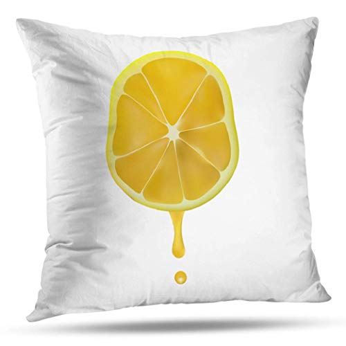 Kutita Lemon Decorative Pillow Covers, Juice from Lemon Slice Drop Art Cocktail Color Colorful Throw Pillow Decor Bedroom Livingroom Sofa 18X18 inch