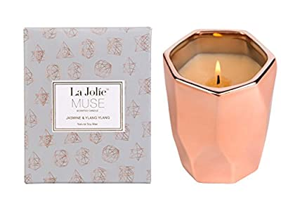 LA JOLIE MUSE Ylang Ylang Aromatherapy Scented Candle Gift,10Oz 100% Soy Wax 65 Hours Burn, Gifts for her