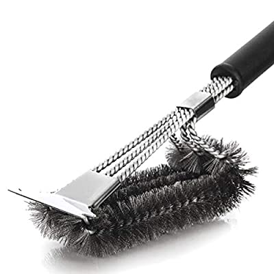 Kapilon Grill Cleaning Brush: Stainless Steel BBQ Cleaner Brush & Scraper, Sturdy Woven Wire Bristles & Nonslip Handle, Barbecue Grill Accessory Weber Gas/Charcoal Grill Cleaning Tool