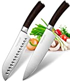 "Homgeek Kitchen Chef's Knives Set - 8"" Chef Knife & 7"" Santoku Knife"