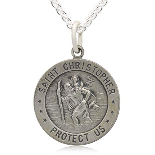 - All Patron Saints Round Antiqued St. Christopher Necklace Medal in Solid Sterling Silver with 20 Inch Chain and Jewelry Gift Box - Size 18 MM (Teen or Woman) - Custom Engraving