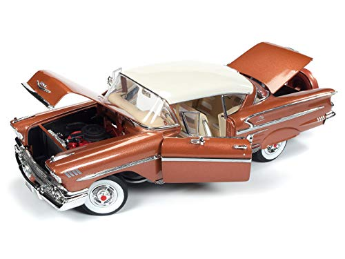 (1958 Chevrolet Bel Air Impala Sierra Gold Metallic w/Cream Top Limited Edition to 1,002 pcs Worldwide 1/18 Diecast Model Car by Autoworld)