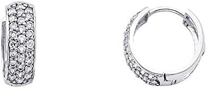 Women's 14k White Gold 6mm Wide Pave Round CZ Huggies Small Hoop Earrings (0.59
