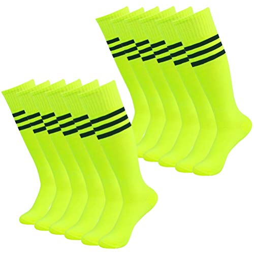 Volleyball Socks, Getspor Women's Long Tube Soccer Footeball Stripes Socks, Neon Green 12 Pairs (Best Female Beach Volleyball Players)