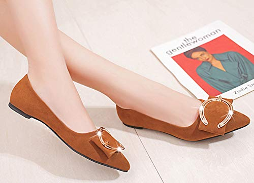 Nœud Chaussure Slip Femme Ballerines Bureau Brun Easemax Pointue Confortable On vHxPnwIwAq