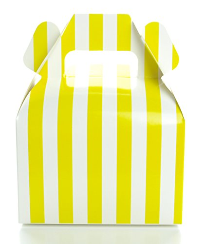 Party Favor Boxes, Yellow Stripe Wedding Boxes (12 Pack) - Mini Square Candy Gift Box for Weddings, Anniversaries, Summer Party Boxes