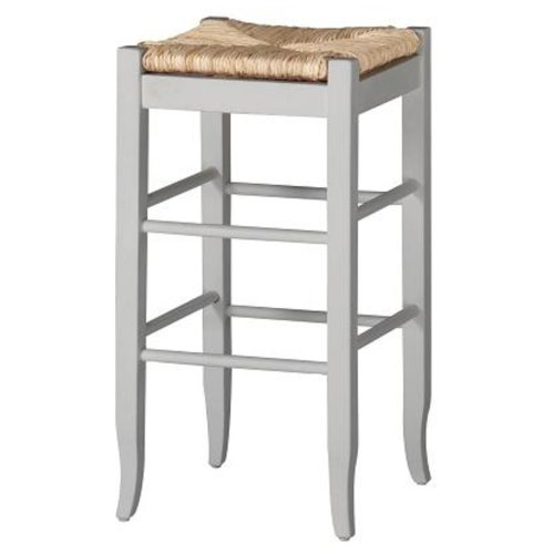 Woven Backless Benches - Boraam 94329 Square Rush Seat Bar Height Stool, 29-Inch, White