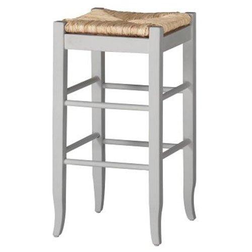 Boraam 94329 Square Rush Seat Bar Height Stool, 29-Inch, White