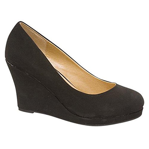 Mode-chaussures Femmes Mi-talon Wedge Amande Orteils Cales Noires