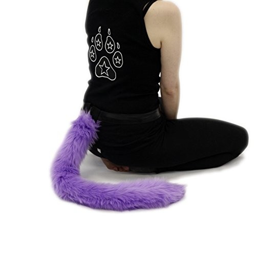 Pawstar Purple Furry Kitty Cat Costume Tail - Lavender