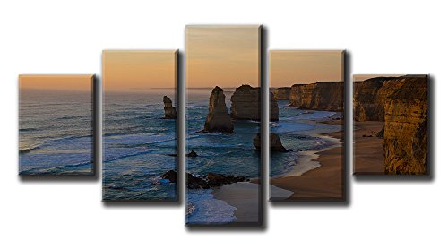 Apostles Marine National Park,Blue and Brown Background Small 5P Canvas Prints Artwork Pictures Modern Paintings Wall Art Home Decoration Stretched and Framed Ready to Hang-40x20in ()