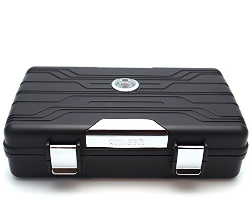 Waterproof Cigar Travel Humidor for 10 Cigars - Integrated Hygrometer and Humidifier Included - 2 Trays Cigars Outdoor Travel Humidor