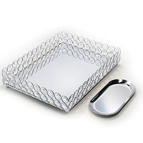 Lindlemann Mirrored Crystal Vanity Tray - Ornate Decorative Tray for Perfume, Jewelry -
