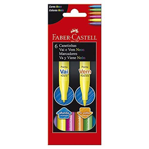 Canetinha Vai e Vem Neon 6 Cores, Faber-Castell, 15.1306VVZF, Multicor