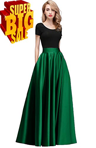 Honey Qiao Women Maxi Skirts Satin High Waist Elegant Formal Evening Skirt Dark Green