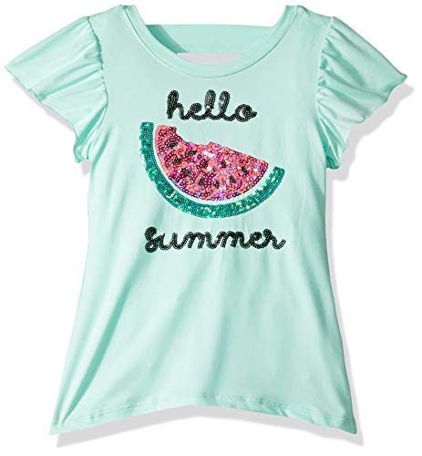 Colette Lilly Girls' Toddler Short Sleeve Sequin Tee, Mint Watermelon, 4T
