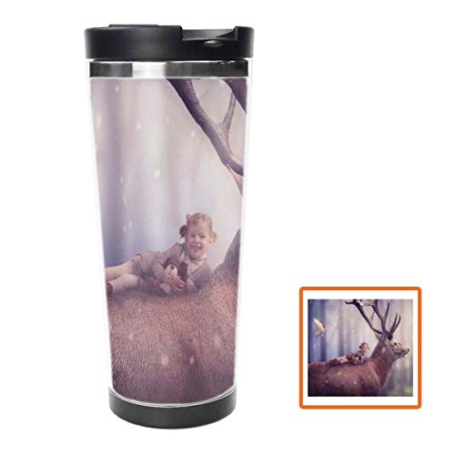 Mammal Elk Water Bottle Stainless Steel Insulated Travel Coffee Mug,16oz, Double Wall Travel Tumbler Perfect for Hiking, Camping & Traveling