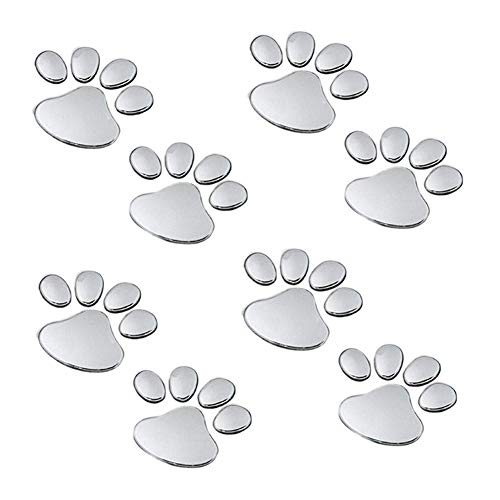 EQLEF 4 Pares de la pata del perro del oso animal Huella 3D de coches pegatinas para el parachoques de la decoracion de color de plata