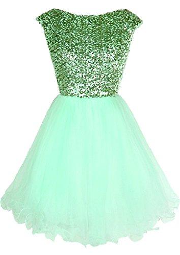 Dresstore Women's Sequins Short Prom Dress Cap Sleeves Homecoming Dress for Juniors Mint US 4