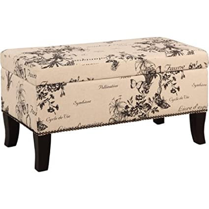 Swell Amazon Com Storage Bench Ottoman Printed Linen Fabric And Caraccident5 Cool Chair Designs And Ideas Caraccident5Info