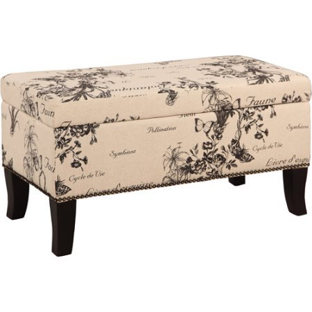 Storage Bench Ottoman,Printed Linen Fabric and Black Finish, Wood Legs, Rectangle Shape, Plush Cushioned Top, Perfect for Entryway, Bedroom, Living Room, Home Furniture, BONUS ()