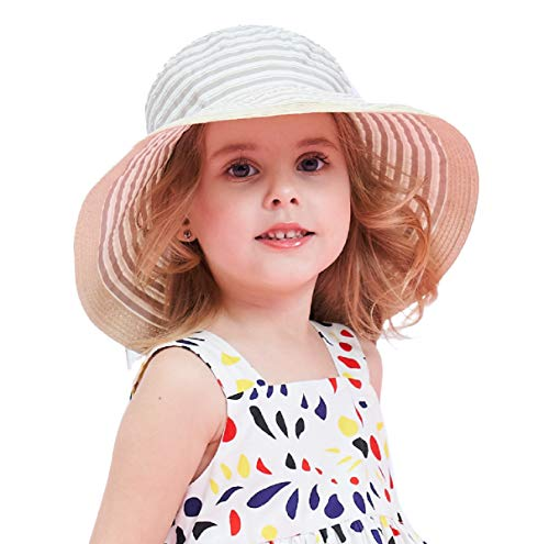 Connectyle Kids Girls Floppy Big Brim Sun Protection Hat Foldable Summer Beach Sun Hats for Toddler Champagne