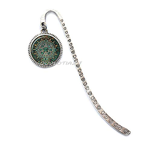 Fashion Bookmark Aztec Calendar Bookmark Sun Glass Cabochon Bookmark,Mayan Calendar Jewelry, Aztec Calendar Bookmark, Mayan Bookmarker, Mayan Jewelry, Glass Dome Bookmarker, Mens Bookmark,ot197 (A3) (Aztec Bookmark)