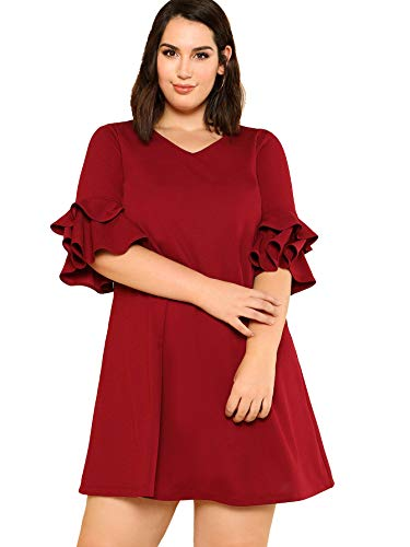 Milumia Plus Size Women Casual V Neck Dress 3 4 Flared Sleeves Mini Dresses Party Homecoming Red 3XL