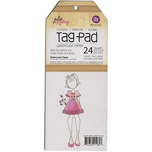 Prima Marketing Julie Nutting Mixed Media Tag Pad, 3.5-Inch by 8.5-Inch, Watercolor, 24/pkg