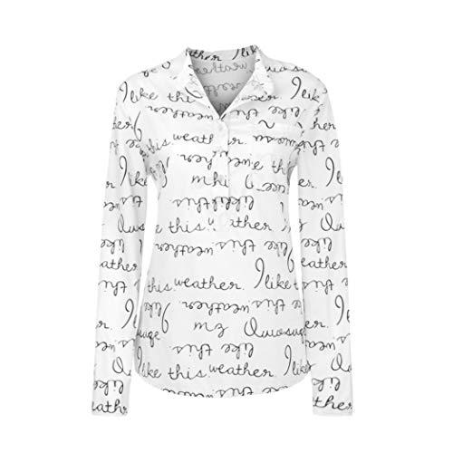 Plus Size Tops,Toimoth Women Long Sleeve V-Neck Button Letter Blouse Pullover Tops Shirt(White,XXXXL) (Raisin Girl Infant)