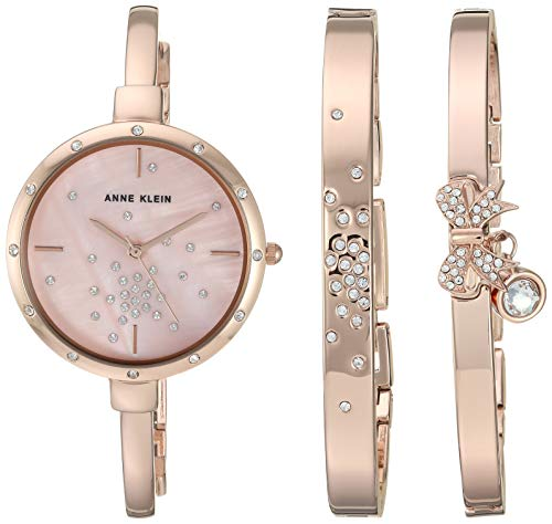 Anne Klein Women's AK/3274RGST Swarovski Crystal Accented Rose Gold-Tone Watch and Bangle Set