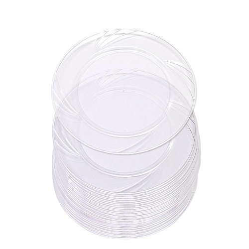 60 High Quality Clear Plastic 6 Inch Round Plates. Disposable Hard Plastic 6 Inch Dessert And Appetizer Party Plates.