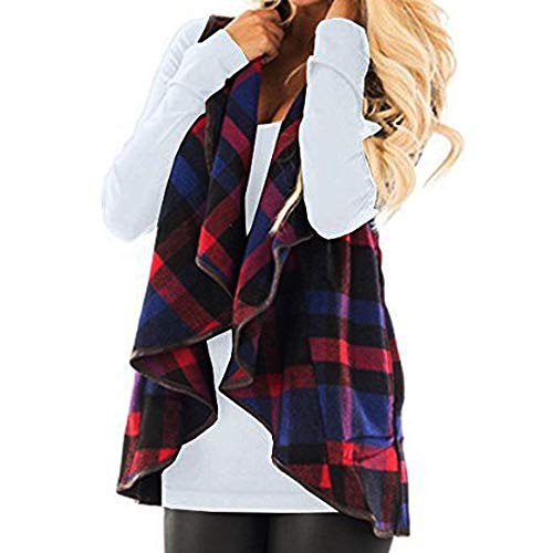 CUCUHAM Womens Vest Plaid Sleeveless Lapel Open Front Cardigan Sherpa Jacket Pockets Winter(Y2-Blue,Large) -