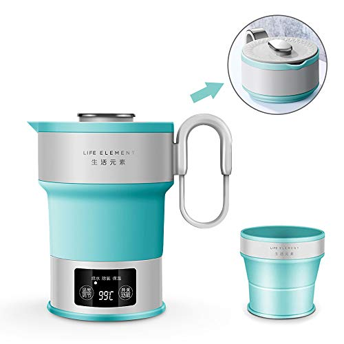 Portable Electric Kettle - Dual Voltage - Expandable & Collapsible for Easy Storage - Convenient and Folding for Travel - BPA Free Food Grade Silicone LED Digital Display, Collapsible, Portable Boil Dry Protection Camping Water Boiler ()
