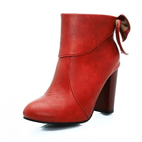 AllhqFashion Mujeres Puntera Redonda Tacón Alto Material Suave Tobillo Sólido Botas Rojo