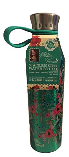 The Pioneer Woman Stainless Steel Water Bottle 18 oz 24 Hrs Cold 12 Hrs Hot (Teal Blue)
