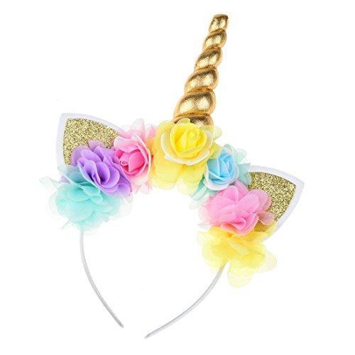 Daisyu Unicorn Horn Ears Flower Headband Unicorn Horn Headband For Party Or Cosplay (Gold--A) -