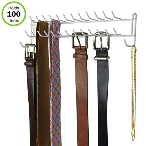 (Evelots Tie Rack-Belt/Scarf/Necklace Wall Organizer-27 Hooks-Can Hold 100 Items)