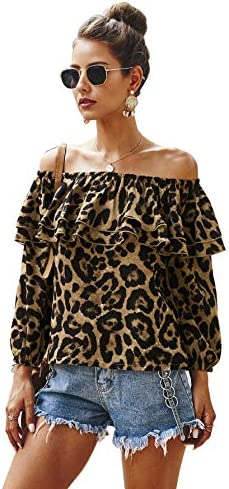 Bbrand Women's Printed Ruffled Off-Shoulder Long Sleeve Top